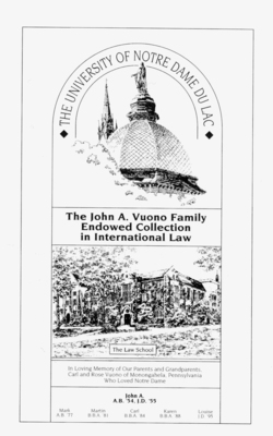 The John A. Vuono Family Endowed Collection in International Law