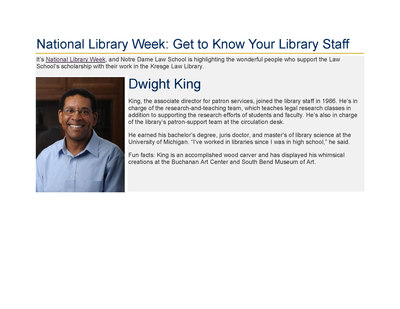 2017 National Library Week Profile: Meet Dwight King