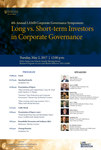 4th Annual LAMB Corporate Governance Symposium: Long vs. Short-term Investors in Corporate Governance