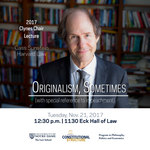 2017 Clynes Chair Lecture: Originalism, Sometimes (with special reference to impeachment)
