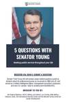 5 Questions with Senator Young: Seeking Public Service Throughout Your Life by Military and Veteran Law Society, ND federal Relations, ROTC, MBA Military Veterans Clubs, ND International Security Center, and Meruelo Family Center for Career Development
